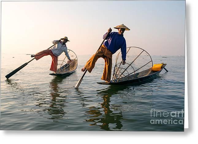 Two Fishing Men Greeting Cards - Intha fishermen - Inle lake - Myanmar Greeting Card by Matteo Colombo
