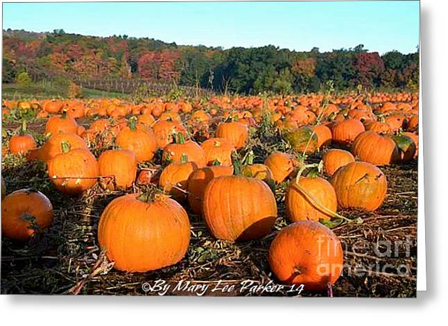 Fall Photos Mixed Media Greeting Cards - InThe Pumpkin Patch Greeting Card by MaryLee Parker