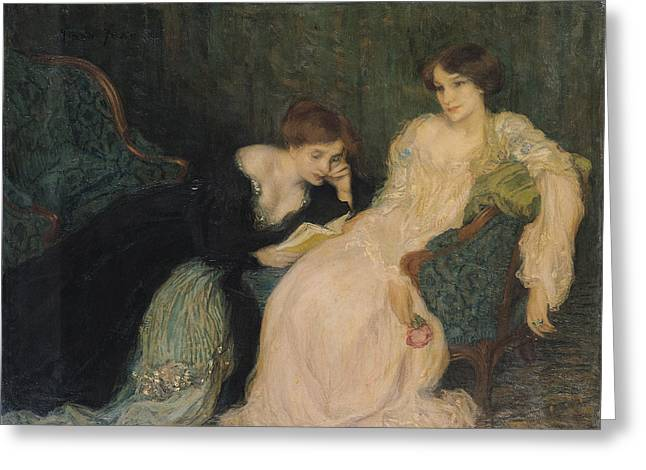 Evening Dress Photographs Greeting Cards - Intimacy Oil On Canvas Greeting Card by Edmond-Francois Aman-Jean