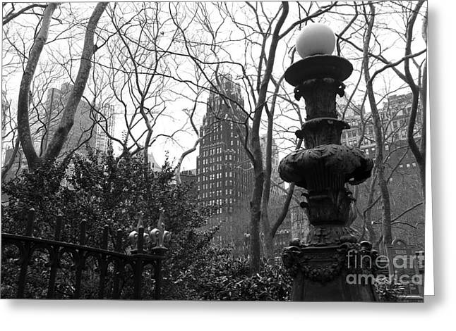 Bryant Park Photographs Greeting Cards - Into Bryant Park mono Greeting Card by John Rizzuto