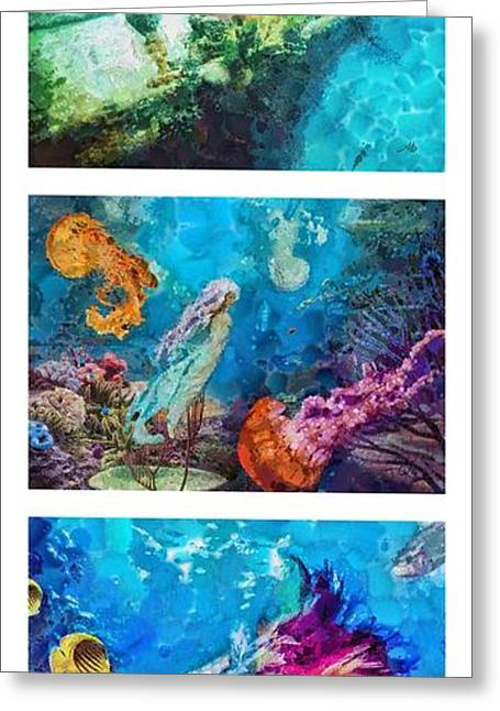 Medusa Paintings Greeting Cards - Into Deep Triptic Greeting Card by Mo T