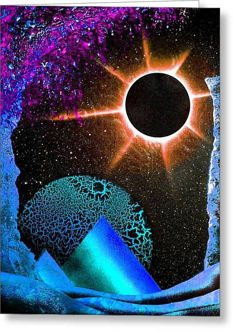 Solar Eclipse Paintings Greeting Cards - Into Oblivion Greeting Card by Drew Goehring