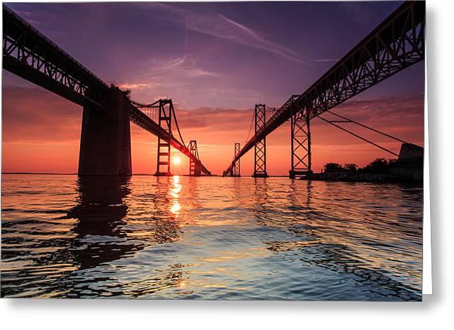 Into Sunrise - Bay Bridge Greeting Card by Jennifer Casey