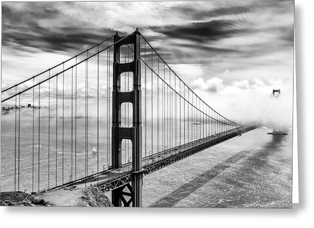 Best Sellers -  - Best Ocean Photography Greeting Cards - Into the Abyss Black and White Photo Golden Gate Bridge San Francisco California Greeting Card by Dave Gordon