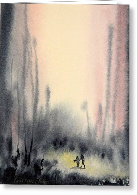 Wet In Wet Watercolor Greeting Cards - Into the abyss Greeting Card by Kristine Plum