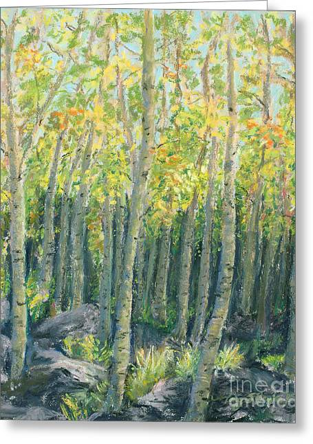 Nature Scene Pastels Greeting Cards - Into the Aspens Greeting Card by Mary Benke
