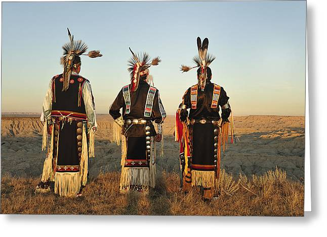 Oglala Greeting Cards - Into the Badlands Greeting Card by Christian Heeb