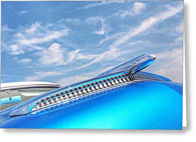 Bling Greeting Cards - Into the Blue - 54 Mercury Hood Ornament Greeting Card by Gill Billington