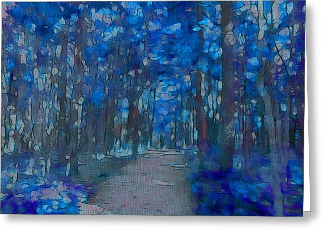 Hiking Mixed Media Greeting Cards - Into The Blue Forest Greeting Card by Dan Sproul