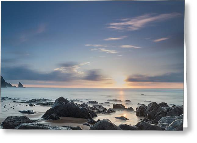Beach Stones. Colorful Rocks Greeting Cards - Into The Blue IV Greeting Card by Marco Oliveira