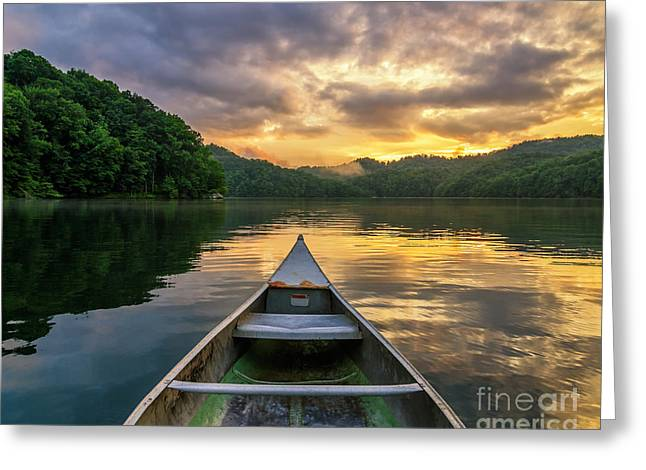 Canoe Photographs Greeting Cards - Into the calm Greeting Card by Anthony Heflin