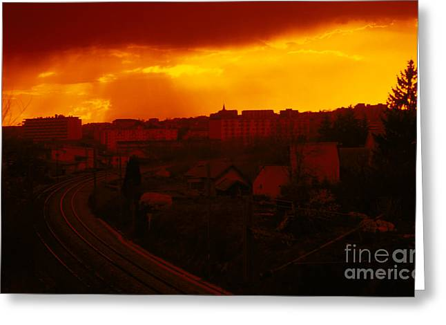 Besancon Greeting Cards - Into the City at Sunset Greeting Card by Gregory Schultz
