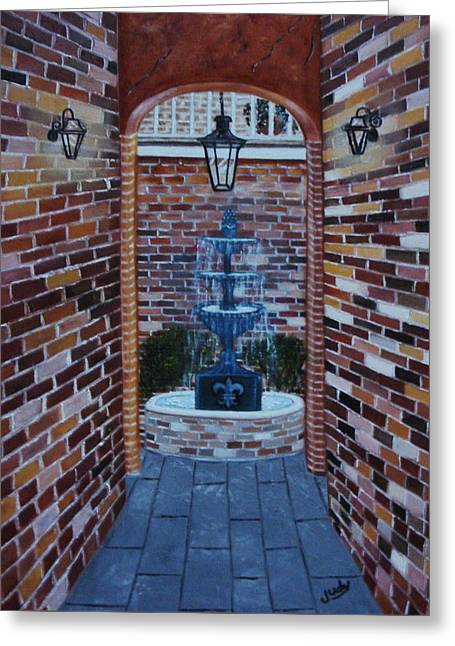 Entryway Paintings Greeting Cards - Into the Courtyard Greeting Card by Judy Jones