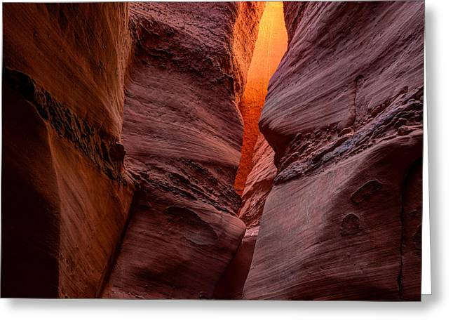 Utah Slot Canyon Greeting Cards - Into the Cravasse Greeting Card by Dustin  LeFevre