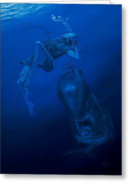 Jonah Paintings Greeting Cards - Into the Deep Greeting Card by Douglas Ramsey