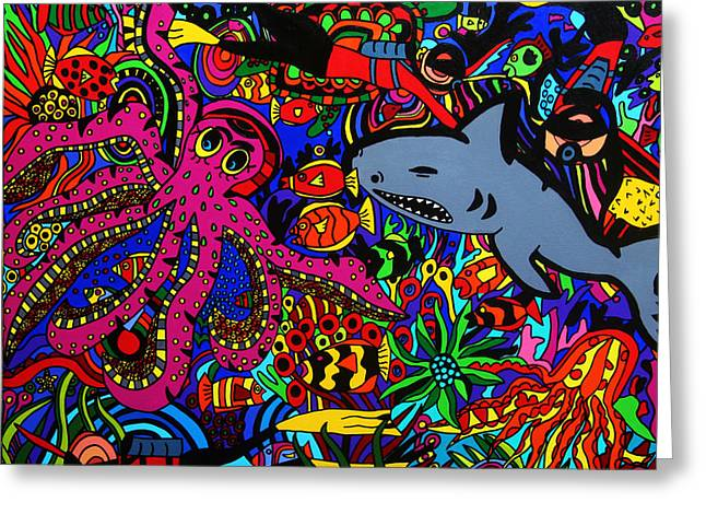 Pictures Of Sea Life Greeting Cards - Into the deep Greeting Card by Karen Elzinga