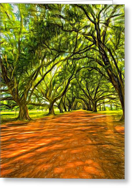 Evergreen Plantation Photographs Greeting Cards - Into the Deep South - Paint 2 Greeting Card by Steve Harrington