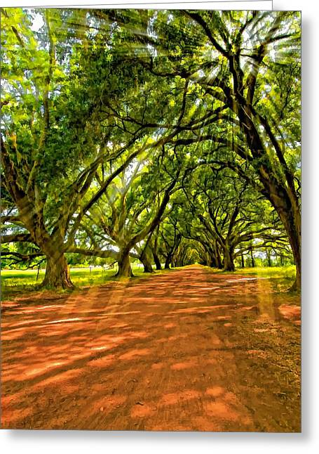 Evergreen Plantation Greeting Cards - Into the Deep South paint Greeting Card by Steve Harrington