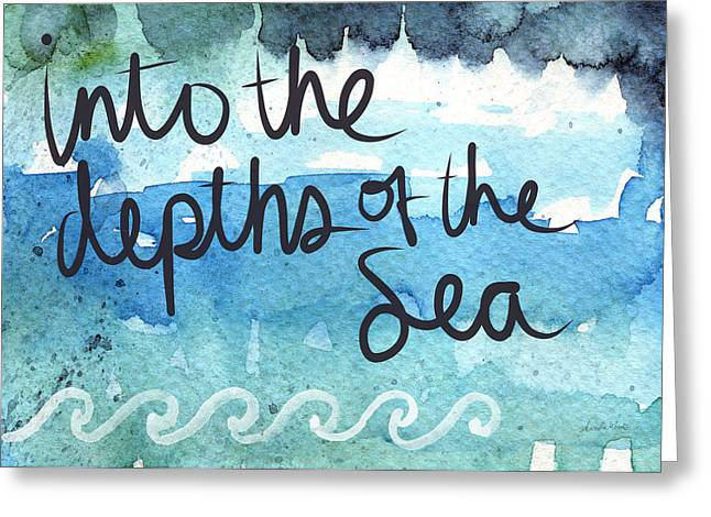 Scripture Mixed Media Greeting Cards - Into The Depths Of The Sea Greeting Card by Linda Woods