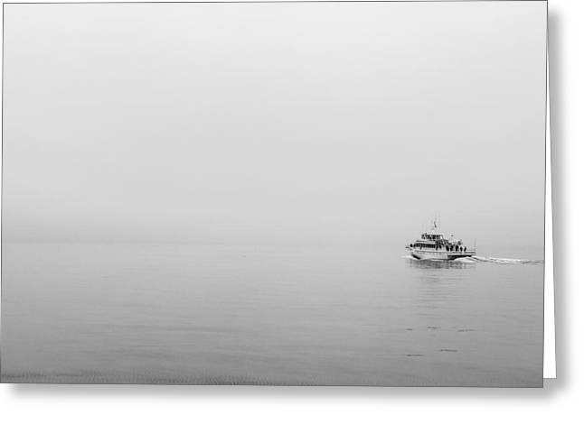 Ocean Black And White Prints Greeting Cards - Into the Fog Greeting Card by Jon Glaser