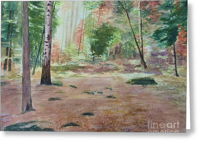 Forest Floor Paintings Greeting Cards - Into The Forest Greeting Card by Martin Howard