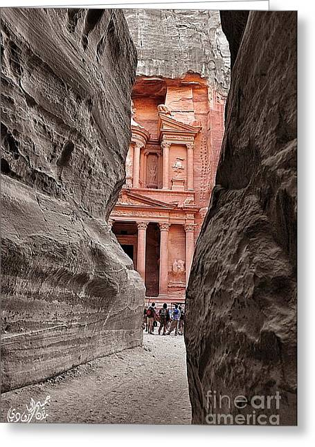 Petra Greeting Cards - Into the History Greeting Card by Jamil Al Baroudi