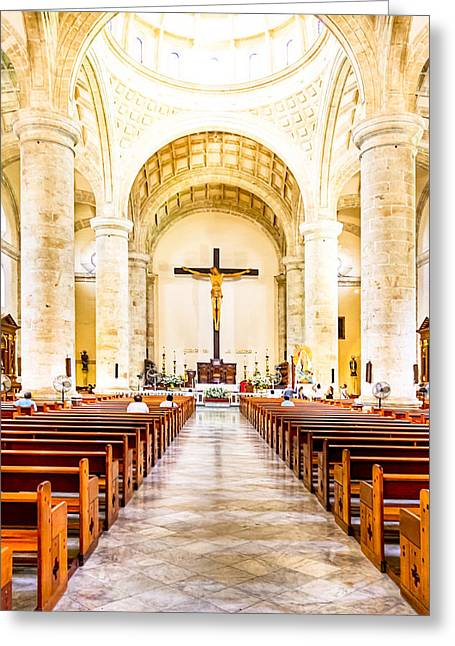 Mexican Culture Greeting Cards - Into the Light at Merida Cathedral Greeting Card by Mark Tisdale