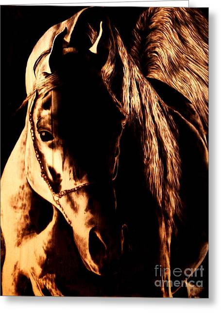 Negative Pyrography Greeting Cards - Into the Light Greeting Card by Paper Horses Jacquelynn Adamek
