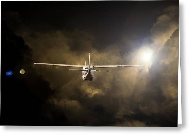 Cessna Greeting Cards - Into the Light Greeting Card by Paul Job