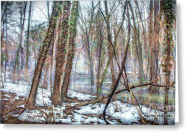 Winter Road Scenes Digital Greeting Cards - Into The Mist Greeting Card by Dan Stone