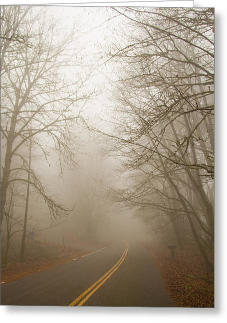 Foggy Road Greeting Cards - Into the mist Greeting Card by Kunal Mehra