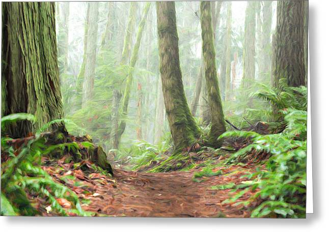 Into The Mist Greeting Card by Mary Jo Allen