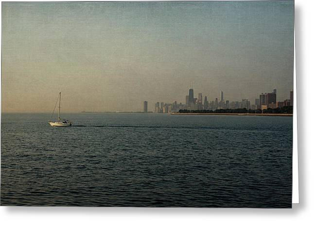 Chicago Skyline Mixed Media Greeting Cards - Into the Morning - Linen Greeting Card by Kathleen Scanlan