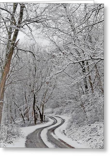 Vinter Greeting Cards - Into the Mountain Greeting Card by Lj Lambert
