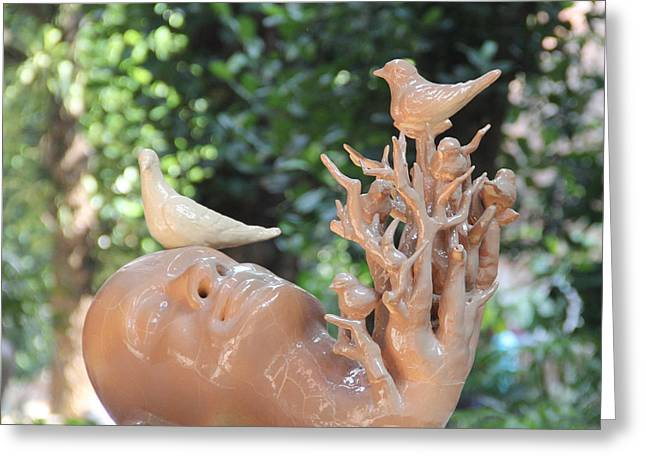 Stoneware Ceramics Greeting Cards - Into The Nature -2 Greeting Card by Ashim Halder
