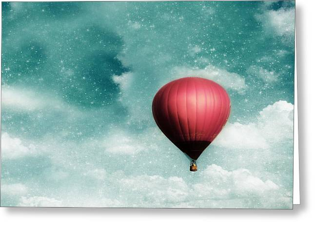 """hot Air Balloon"" Greeting Cards - Into the Night Greeting Card by Amy Tyler"