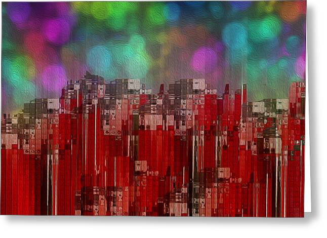 Abstracted Colorful Reality Greeting Cards - Into The Night Sky Greeting Card by Jack Zulli