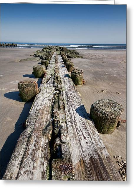 Wood Pier Framed Prints Greeting Cards - Into the Ocean Greeting Card by Alina Bliach