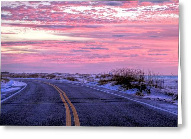 Florida Panhandle Greeting Cards - Into the Pink Greeting Card by JC Findley