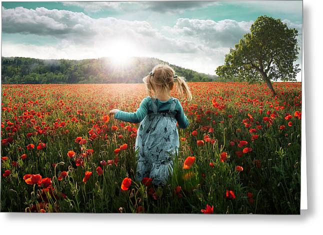 Into The Poppies Greeting Card by John Wilhelm