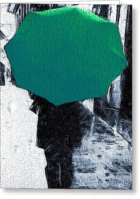Green Umbrellas Greeting Cards - Into The Rain Green Umbrella Greeting Card by Dan Sproul