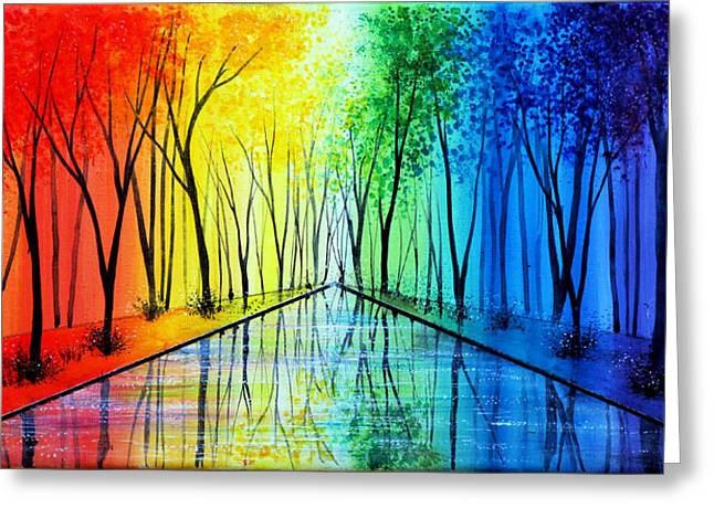 Kinkade Greeting Cards - Into the Rainbow Greeting Card by Ann Marie Bone