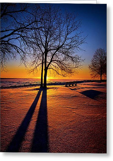 Blue Shadows Greeting Cards - Into the Shadows of Light Greeting Card by Phil Koch