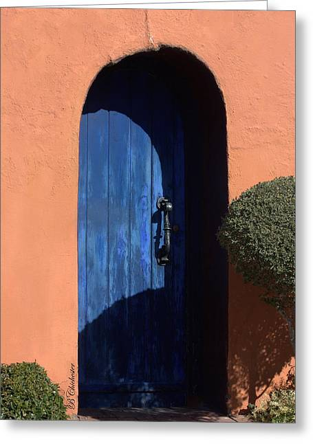 Las Cruces Digital Art Greeting Cards - Into the Shadows of the Blue Door Greeting Card by Barbara Chichester