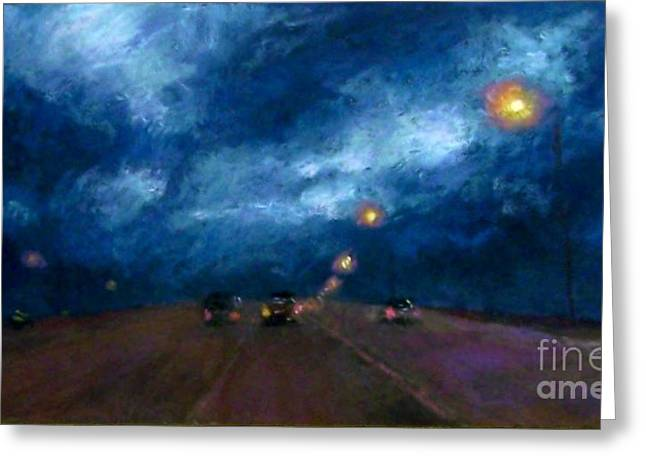 Traffic Pastels Greeting Cards - Into the Storm Greeting Card by Cynthia Pierson
