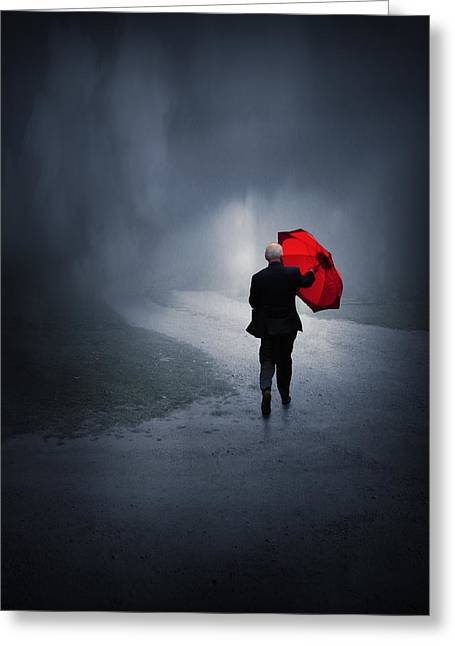 Umbrellas Greeting Cards - Into the Storm Greeting Card by Jennifer Woodward