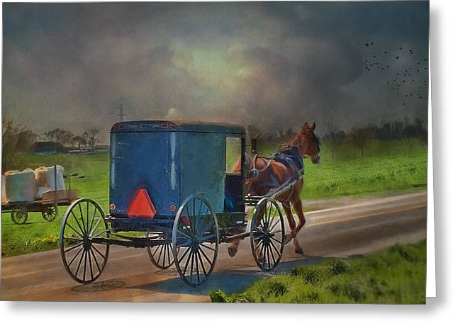 Horse And Buggy Greeting Cards - Into The Storm Greeting Card by Kathy Jennings