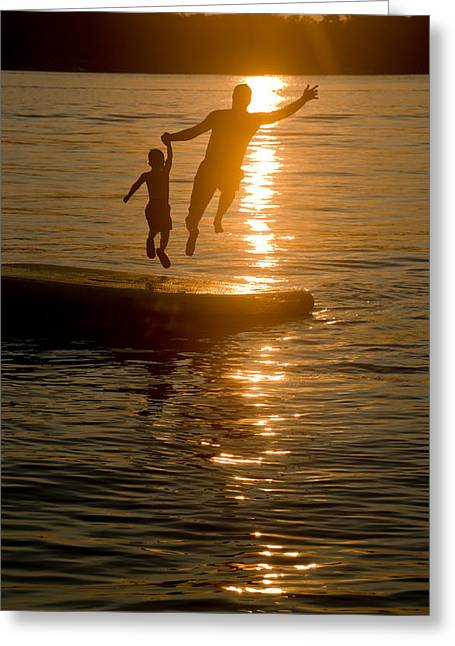 Father And Son Greeting Cards - Into the Sunset Greeting Card by Holly Kallie