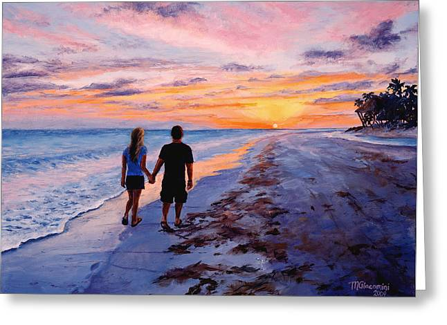 Newlyweds Greeting Cards - Into the Sunset Greeting Card by Mary Giacomini