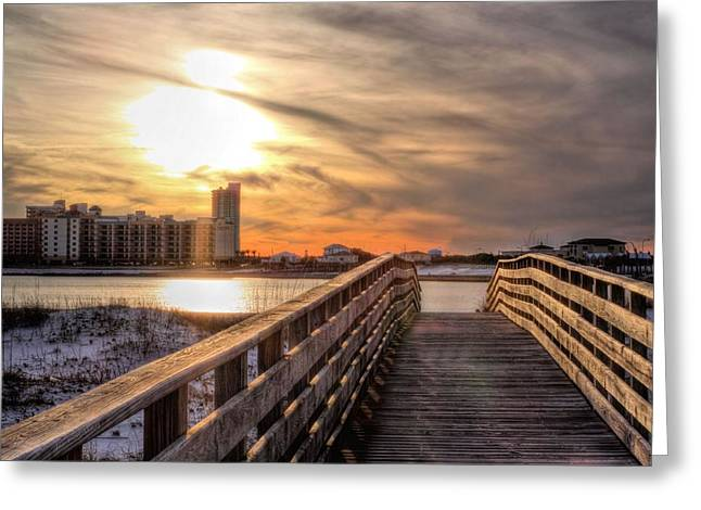 Florida Panhandle Greeting Cards - Into the Sunset on Orange Beach Greeting Card by JC Findley